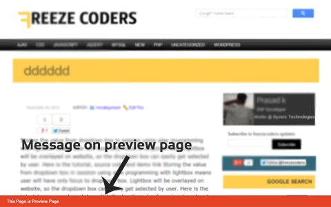 Display Message on Post Preview Page in WordPress
