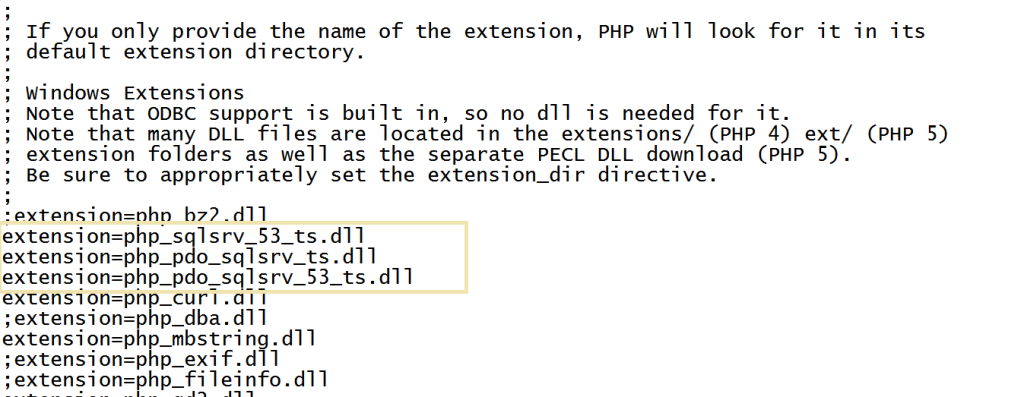 Mssq connect with php  changing extension